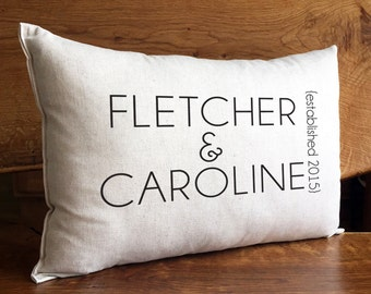 Personalized Couple Pillow, First Names And Established Date, Personalized Wedding, Anniversary or Housewarming Gift, Cotton Linen Pillow