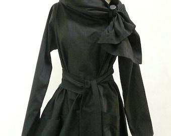 Maria Severyna Creamy Black Cotton Twill thread Trench Jacket Coat