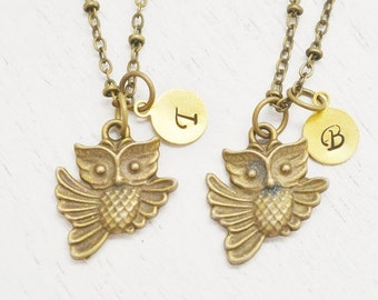 ON SALE personalized owl necklace, bridesmaid, initial, best friend set necklaces, gift for best friend, christmas, friendship, sisters neck