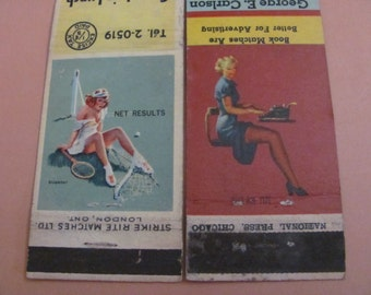 Lot of 2 Assorted Vintage Antique Older Matchbook Matches Covers - Pin Up Girls