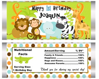Set of 10. Jungle Theme Party Favor, candy bar wrappers, jungle party, jungle favors, birthday party, birthday boy, birthday jungle.