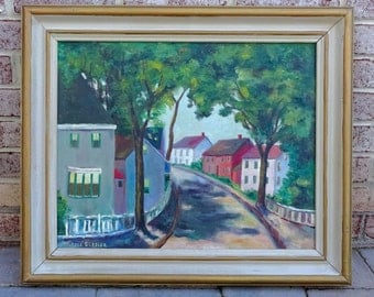 Mid Century Landscape Oil Painting of Village Street Scene by Artist Grace Glazier - Awesome!!