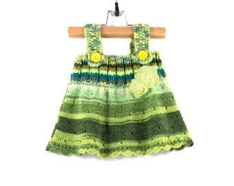 Knitted Baby Dress - Green, Yellow and Blue, 6 - 9 months