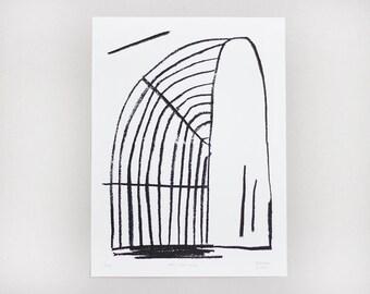 "Screenprint handmade original 30 X 40 cm Black & White  /  ""Arc-en-ciel"" """
