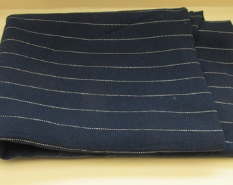 Vintage 1940s Ladies Navy Chalk Stripe Suiting Fabric - 90 x 36 inches