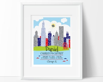 London nursery london skyline personalized baby gift birth chicago baby chicago skyline wall art baby names baby name art birth negle Image collections