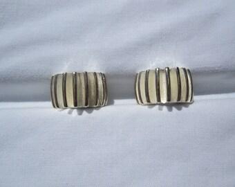 Modernist Silvertone Gear Look Clip Earrings by Givenchy