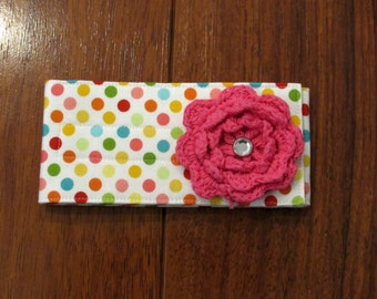 Sale Riley Blake Multi Dot Diaper Strap with Matching Hot Pink Crochet Flower