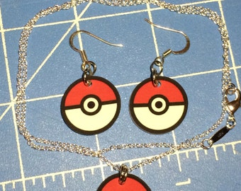 Pokemon Pokeball - Keychain, Cell Phone Charm, Necklace, Earrings