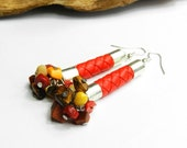 Long red earrings with amber, coral and strap. Sterling silver hooks