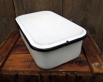 Vintage Enamelware Refrigerator Pan with Lid , white with black trim