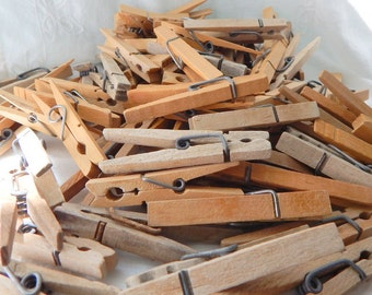 Vintage wooden clothespins, Hardwood clothes pins