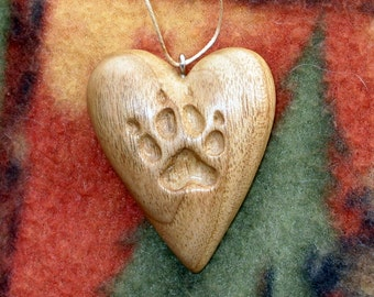 Heart w/ Dog Paw Print Wood Carving, Ornament, Pendant Hand Carved Valentine's Day Gift Sculpture Hanging Decor Brown Butternut Necklace