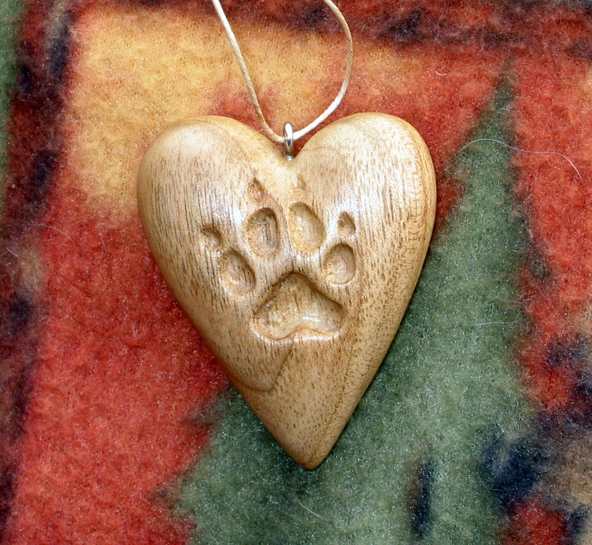 Heart w dog paw print wood carving ornament pendant hand