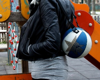 Blue and white starry texture basketball bag