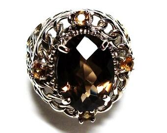 """Smokey quartz, statement ring, smokey accent ring, brown ring, brown,  s 6 1/4  """"Saddle Up"""""""