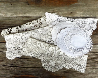 7 Doilies Hand Crocheted and Lace White Doilies Pineapple Doily Bobbin and Filet Lace Doily Cottage Chic Decor