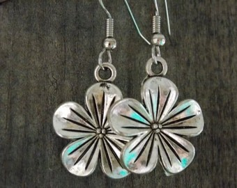 Surgical Stainless Steel Earrings, Silver Flower Charms with Hypoallergenic Steel Ear Wires