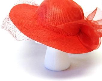 Red Hat Vintage 1980's Floppy Brim Bow Veil Embellishment