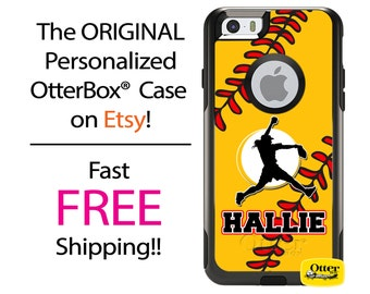 iPhone OtterBox Commuter Case for iPhone 7, 7 Plus, 6/6s, 6 Plus/6s Plus, 5/5s/SE, 5c Galaxy S7 S6 S5 Note 5 Custom Softball Pitcher Phone