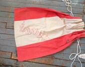 1930s era Laundry Bag,  Red & White,  Drawstring  style