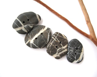 Buttons Stone Mediterranean Beach Rock Pebble Knitting Sewing Buttons Craft Findings Large STRIPED BUTTONS 34-38 mm