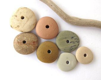 Stone Spacers Center Drilled Stones Beach Stone Beads Mediterranean Natural Stone Cairn Jewelry Findings Pairs FRESH DONUTS 17-25 mm