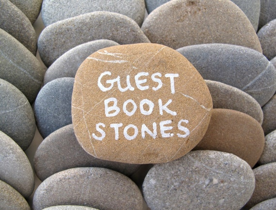 50 guest book stones wedding rocks flat rocks by stonealone for Flat stones for crafts