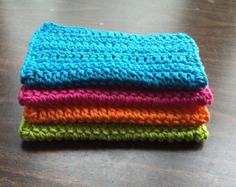 4 Large dish cloths made with 100% cotton yarn Bright Colors