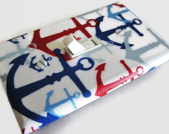 NAUTICAL ANCHORS Light Switch Cover Plate Switchplate Sailing Nautical Decor