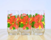 Vintage Poinsettia Holiday Christmas Glass: Set of 6 Water Glasses