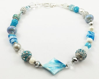 Blue and White Necklace / Statement Necklace / Chunky Necklace