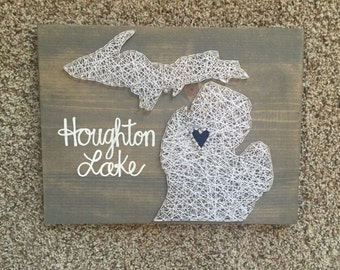 Michigan String  Art with words