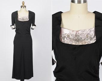1940s dress/ 40s beaded rayon dress/ medium