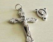Silver Rosary Crucifix with  Center - 1 set