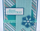 Christmas Greeting Card, Aqua, Blue, White, Silver, Snowflake, Seasons Greetings, Merry Christmas, Winter, Stamped, Blank Inside