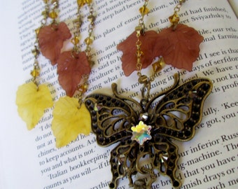 Fantasy Butterfly Jewelry Set (S601) - Bronze Butterfly Pendant - Faux Mini Pocket Watch Pendant - Lucite Leaf Dangles - Crystal Chain