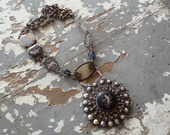 Vintage Sterling Siam Pendant Necklace Assemblage Jewelry Art Nouveau