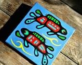 mini painting  4 x 4 canvas Fish