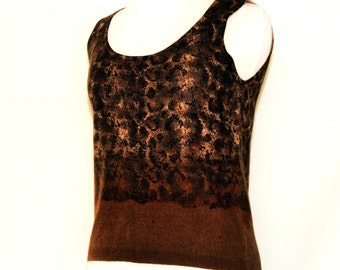 Dana Buchman cropped knit wool sweater vest top / animal print camouflage reptile  / retro ladies designer fashion / brown black snug fit