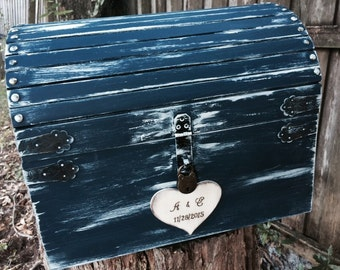 Rustic X- Large Custom Wedding Card Money Box With CARD SLOT & LATCH  Romantic Fairy tale Whimsical Treasure Box