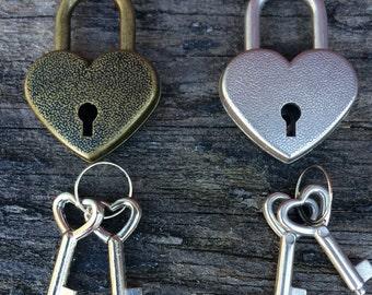 Mini Heart Padlock Trinket Lock Card Wine Letter Box Two Sets Of Keys