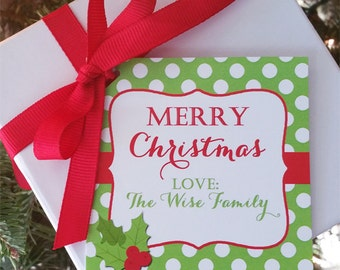 Personalized Christmas Gift Tags Printable or Printed with FREE SHIPPING - ANY Wording - Holly Merry and Bright