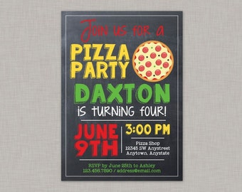 Pizza Invitation, Pizza Party Invitation, Pizza Birthday Party, Chalkboard