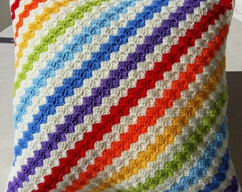 Rainbow corner to corner granny square cushion cover