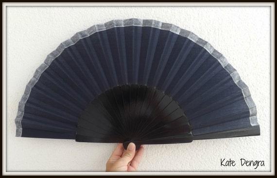 Navy Blue & Silver Supersize Hand Fan