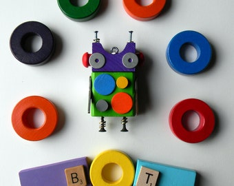 Robot Ornament - Polka Dot Bot - Upcycled Ornament - Hanging Decor by Jen Hardwick