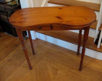 Vintage Kidney Shaped Vanity Dressing Table Desk Computer Table Rustic Look