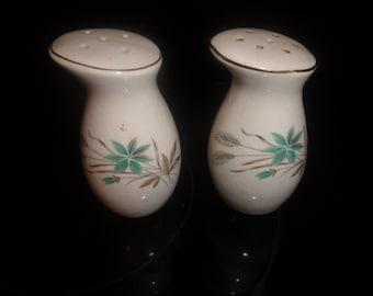 vintage pair salt pepper shakers set turquoise flower wheat