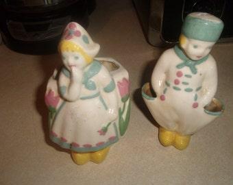 vintage pair porcelain dutch kids planter